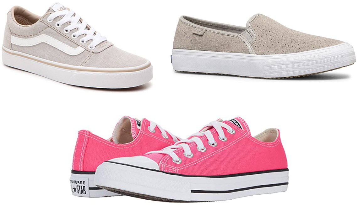item 5 of Gallery image - Van's Ward Sneaker — Women's in taupe; Keds Double Decker Slip-on Sneaker in grey; Converse Chuck Taylor All Star Ox in hyper pink