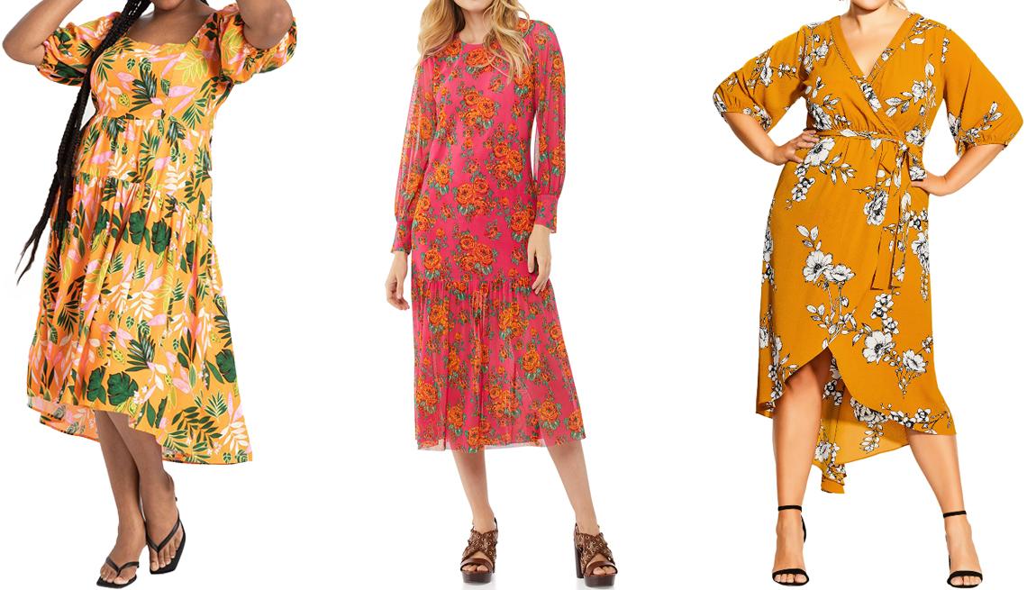 item 1 of Gallery image -  (De izquierda a derecha) Vestido a media pierna con escote cuadrado de Eloquii en naranja; vestido a media pierna de manga larga con dobladillo de volantes en diseño de empapelado floral rosa intenso de Scoop; vestido cruzado al frente con diseño floral