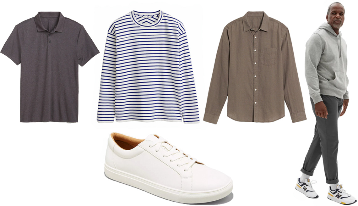 item 3 of Gallery image - Old Navy Go-Dry Cool Odor-Control Core Polo for Men in charcoal; Alex Mill Touch Down Tee in Stripe in natural/blue; Regular-Fit Linen-Blend Long-Sleeve Shirt for Men in Weimaraner; Everlane The Performance Chino in slate grey; Goodfellow & Co Men's Kaine