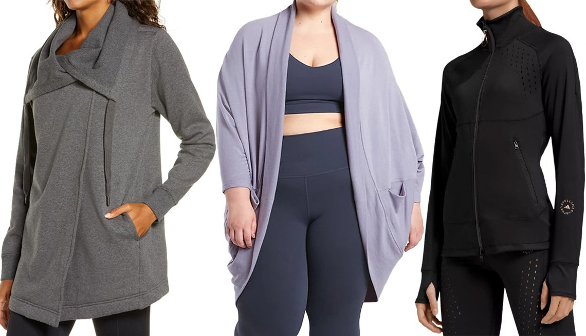 item 6 of Gallery image - (De izquierda a derecha) Amazing Cozy Wrap Jacket de Zella; Ethereal Cocoon Wrap de Athleta en color violeta tempestad; TruePurpose Jacket de Adidas by Stella McCartney.