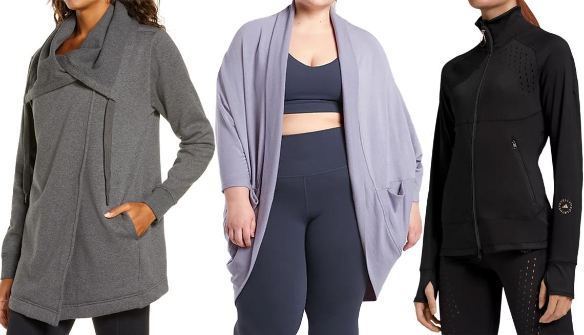 item 6 of Gallery image - Zella Amazing Cozy Wrap Jacket; Athleta Ethereal Cocoon Wrap in tempest violet; Adidas by Stella McCartney TruePurpose Jacket