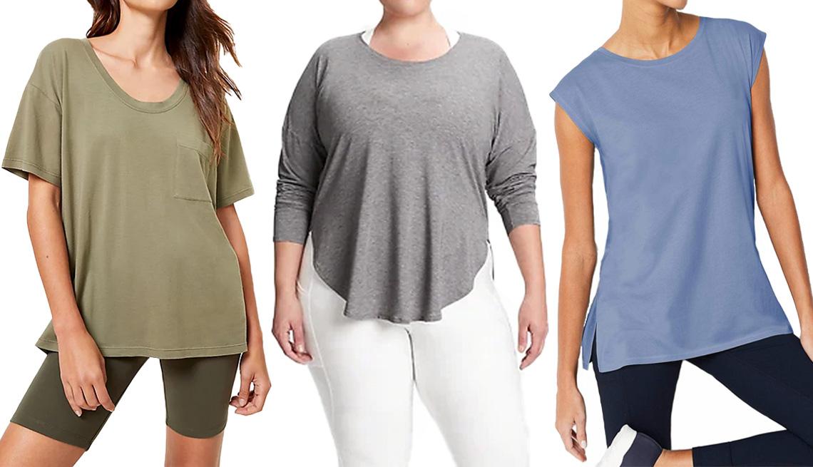 item 8 of Gallery image - (De izquierda a derecha) Pocket Softserve Tee de Loft Lou & Grey en color verde liquen intenso; Breathe T-Shirt de GapFit en color gris brezo; Fit Relaxed A-Line Tee de J.Jill en color azul crepúsculo.