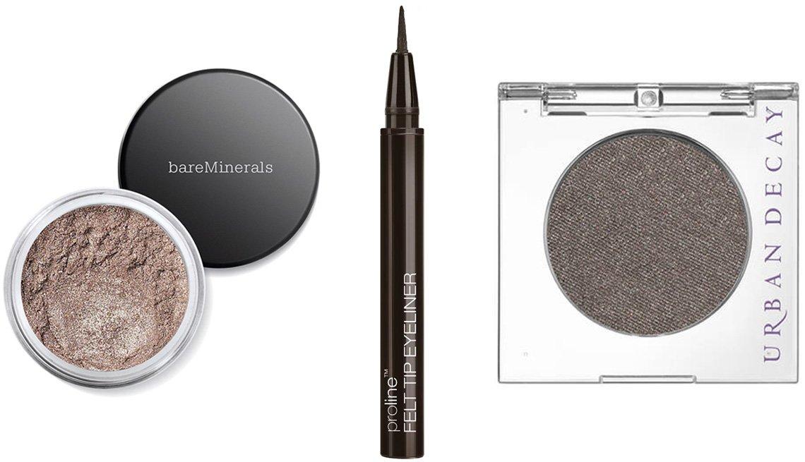 item 5 of Gallery image - (De izquierda a derecha) bareMinerals Glimmer Eyeshadow en Celestine; Wet n Wild ProLine Felt Tip Eyeliner en dark brown; Urban Decay 24/7 Eyeshadow en Mushroom.