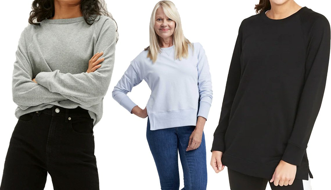 item 9 of Gallery image - Everlane's The Lightweight French Terry Crew in heather grey; Universal Standard Fiona Open Side Sweatshirt in light blue; Old Navy's Loose-Fit French-Terry Crew-Neck Tunic for Women in Black Jack