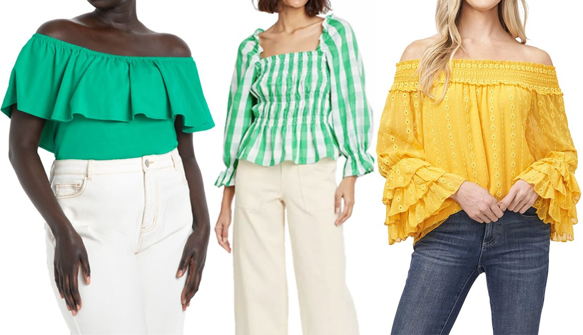 item 6 of Gallery image - Eloquii Off the Shoulder Ruffle Top in Jelly Bean; Who What Wear Women's Puff 3/4 Sleeve Smocked Peplum Top in Green; CeCe Off-the-Shoulder Floral Chain Embroidered Blouse in Golden Hour