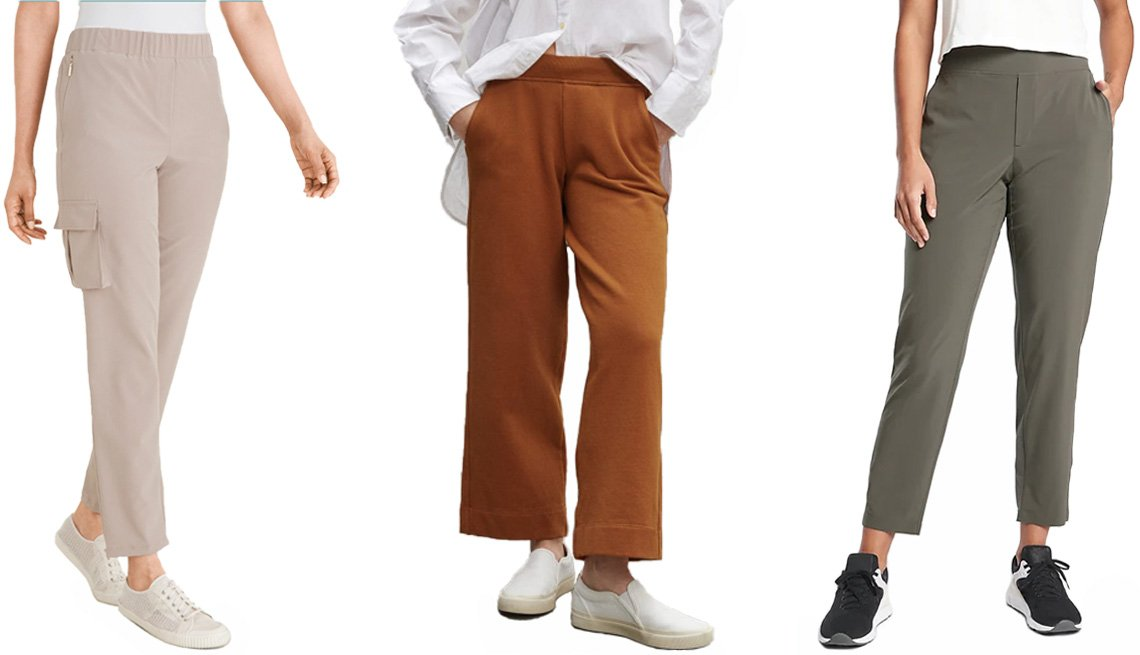 item 7 of Gallery image - Chico's Zenergy Neema Travel Pants in modern taupe; Everlane's The Track Wide-Leg Pant in honey; Athleta Brooklyn Ankle Pant in mountain olive