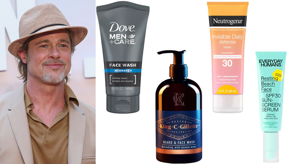 item 6 of Gallery image - Brad Pitt wearing a straw fedora hat; Dove Men+Care Hydrate + Facial Cleanser; King C. Gillette Men's Beard and Face Wash with Coconut Water; Neutrogena Invisible Daily Defense Sunscreen Lotion SPF 30; Everyday Humans Resting Beach Face Sunscreen Serum SP