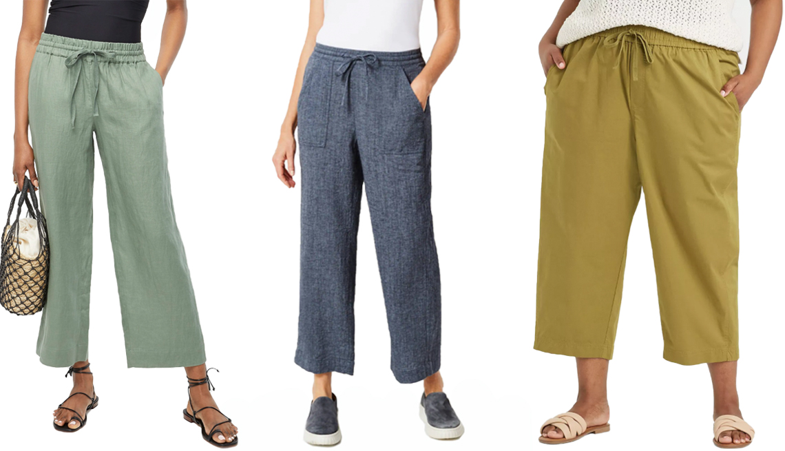 item 8 of Gallery image - J.Crew Wide-Leg Linen Pants in Pale Cypress; Pure Jill Linen & Cotton Straight Full-Leg Crops in Deep Blue/White; A New Day Women's Plus High-Rise Relaxed Fit Pull-On Ankle Pants in Olive Green