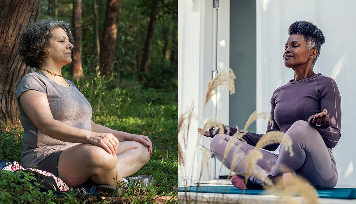 Two women outdoors meditating