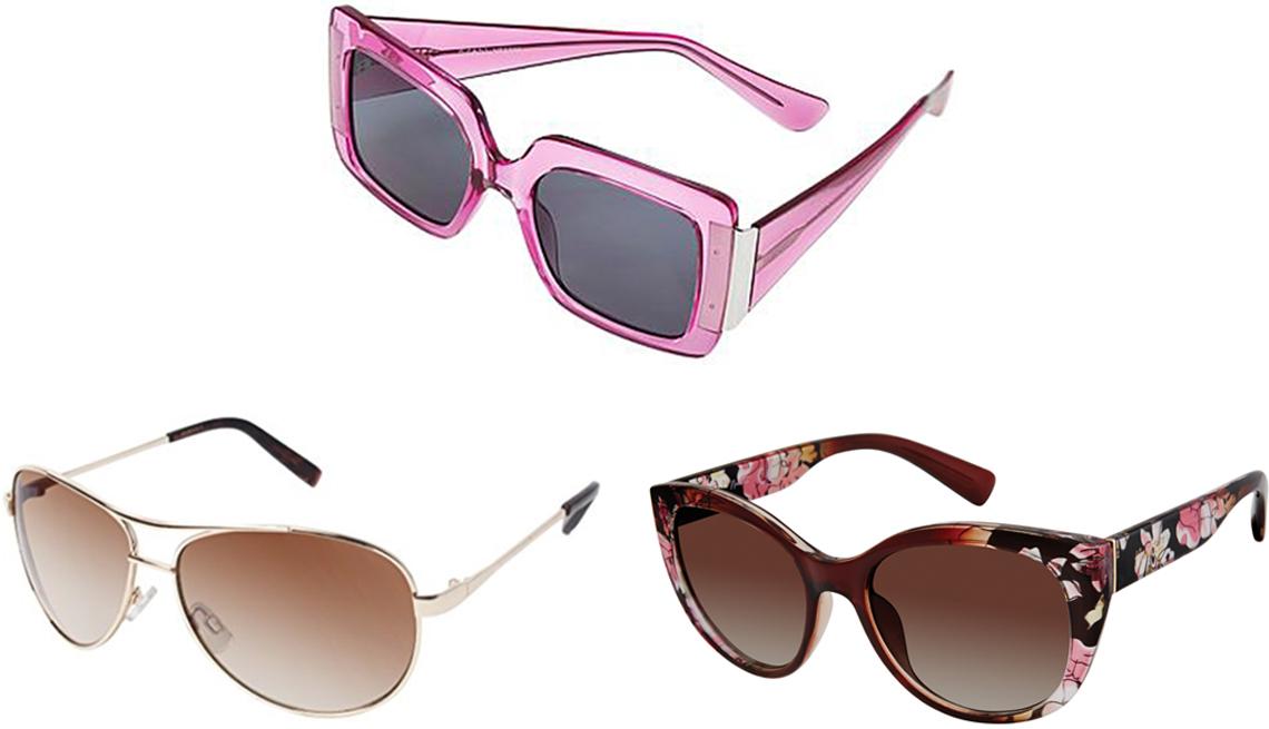 item 2 of Gallery image - (Desde arriba a la izquierda, en el sentido de las agujas del reloj) Gafas de sol de montura cuadrada Iman Global Chic en color orquídea; gafas de sol de ojo de gato para mujer de Nanette Lepore con protección UV 100% en marrón desteñido; gafas de sol de