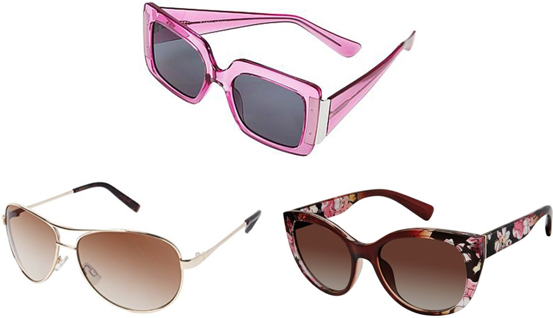 item 2 of Gallery image - Iman Global Chic Square-Frame Sunglasses in Orchid; Nanette Nanette Lepore Women's Cat-Eye Sunglasses with 100% UV Protection in Brown Fade; Jessica Simpson Women's Metal Aviator Sunglasses with 100% UVA Protection in Gold