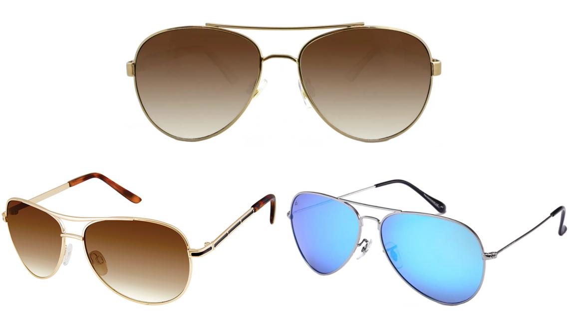 item 7 of Gallery image - (Desde abajo a la izquierda, en el sentido de las agujas del reloj) Gafas de sol de aviador para mujer de Nanette Lepore con protección UV 100% en dorado/marrón; gafas de sol de aviador para mujer de A New Day en bronce; The Commando de Privé Revaux en pl