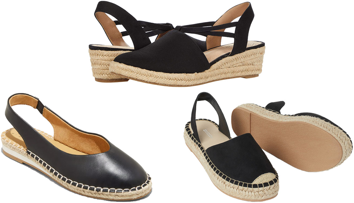 item 10 of Gallery image - A New Day Women's Irene Slingback Espadrille Flats in black; Lifestride Katrina 2 in black; H&M Slingback Espadrilles in black