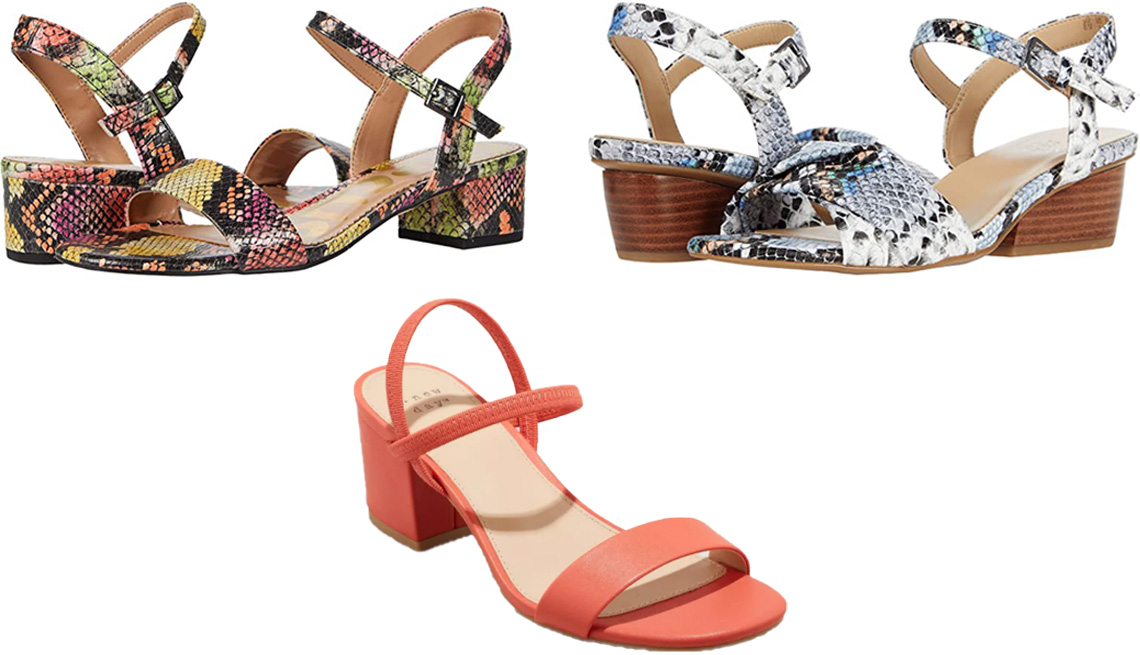 item 2 of Gallery image - Circus by Sam Edelman Ibis in Bright Multi Snake; Naturalizer Traci in Light Blue Snake; A New Day Women's Eloise Heels in coral
