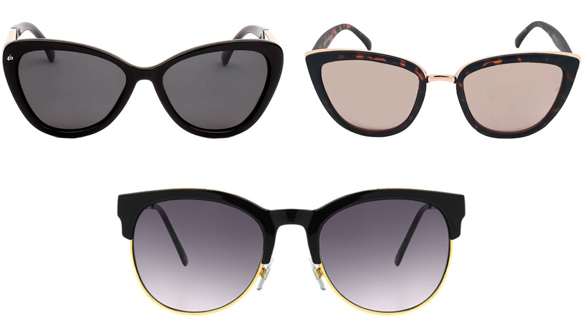 item 6 of Gallery image - Privé Revaux The Hepburn 57mm Cat-Eye Polarized Sunglasses in Black; Wild Fable Women's Cateye Tort Sunglasses in Brown; Foster Grant Afia in Black