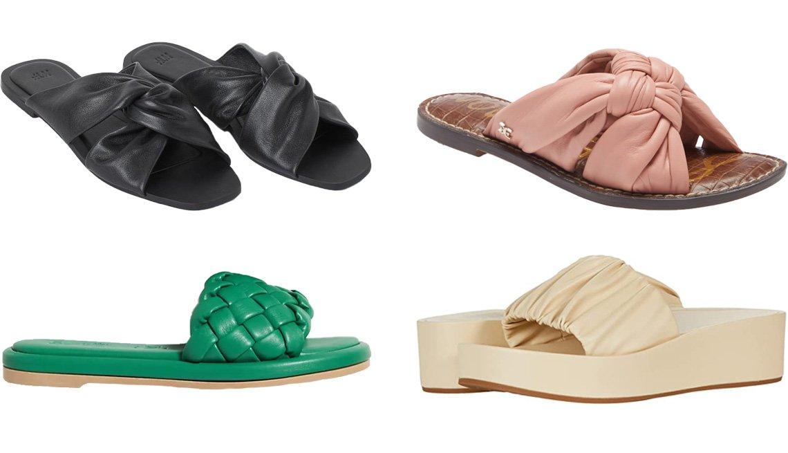 item 5 of Gallery image - H&M Leather Slides in black; Sam Edelman Garson Slide Sandal in Cali Rose; Aerosoles Dada in Off-White; Seychelles Puffy Woven Slide Sandals in green
