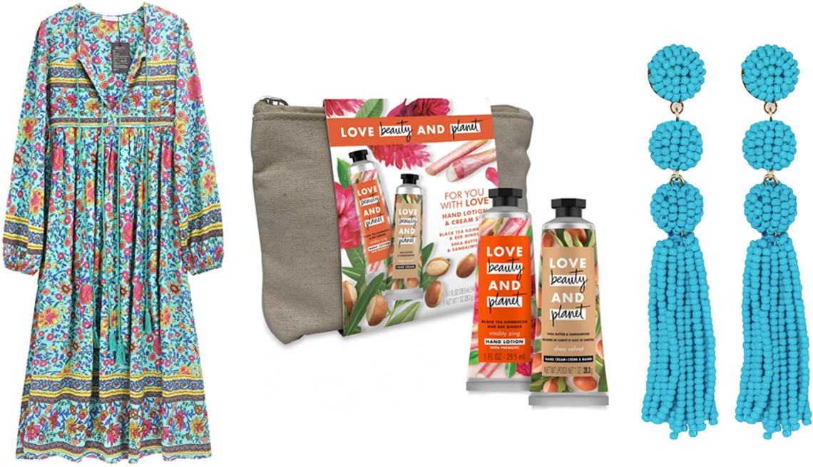 item 10 of Gallery image - R. Vivimos Women's Long-Sleeve Floral Print Retro V Neck Bohemian Midi Dress; Love Beauty and Planet Hand Cream Gift Set in Shea and Sandalwood; Sugarfix by BaubleBar Beaded Ball Drop Tassel Earrings in blue
