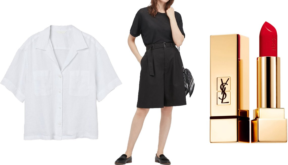 item 8 of Gallery image - H&M Linen Shirt in white; Uniqlo Women Blend Belted Culottes in 09 black; Uniqlo Women Blend Belted Culottes in 09 black; Yves Saint Laurent Rouge Pur Couture Satin Lipstick in 151 Rouge Unapologetic