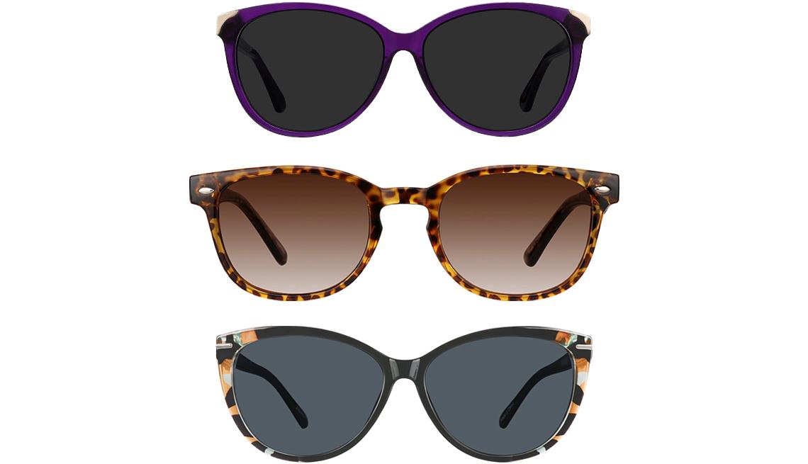 item 11 of Gallery image - (De arriba a abajo) Gafas de sol de ojo de gato Lima de EyeBuyDirect en color morado; gafas de sol cuadradas de Zenni Optical en carey 125625; gafas de sol de ojo de gato de Zenni Optical 2024421.