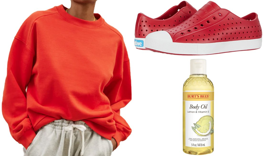 item 1 of Gallery image - Everlane The Track Oversized Crew in scarlet; Native Shoes Jefferson in Ski Patrol Red/Shell White; Burt's Bees 100% Natural Origin Body Oil Lemon & Vitamin E