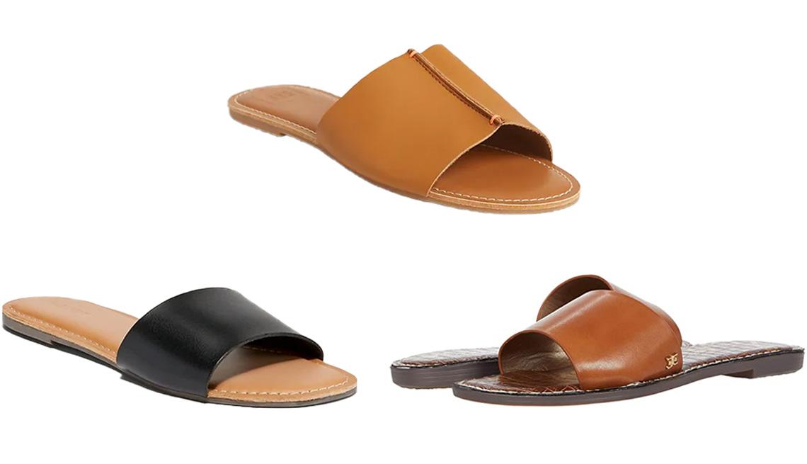 item 4 of Gallery image - Old Navy Faux-Leather Slide Sandals for Women in Black Jack; Gap Leather Slides in Brown Cognac; Sam Edelman Genesis in Saddle Atanado Leather