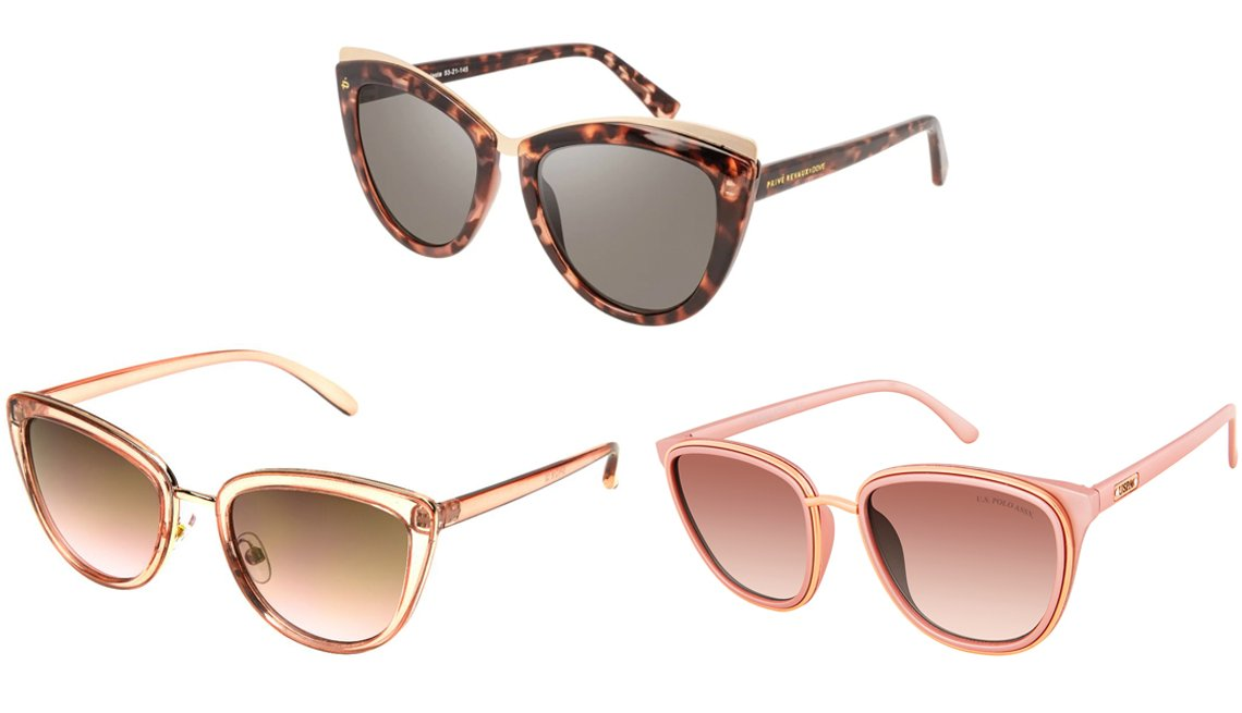 item 4 of Gallery image - Foster Grant Alina; Privé Revaux The Celeste in Blush Tort; U.S. Polo Assn. Women's Metallic Square Sunglasses with Stoned Logo Temple and 100% UV Protection in Rose Metal