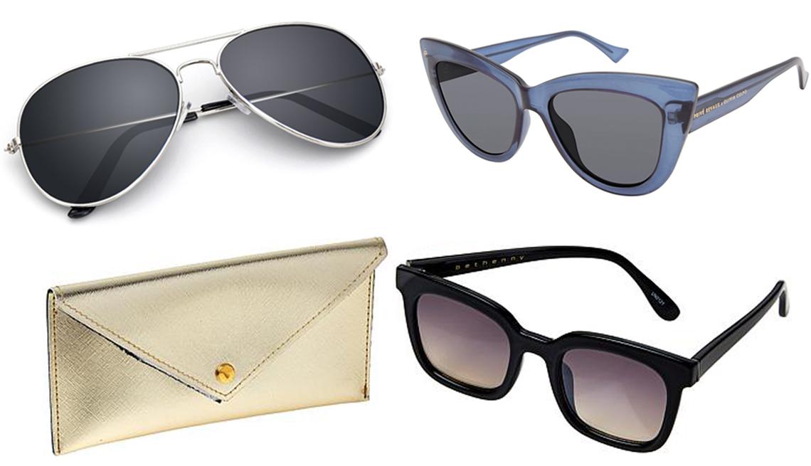 item 1 of Gallery image - (Desde arriba a la izquierda, en el sentido de las agujas del reloj) Gafas de sol Spencer Retro Aviator UV400 espejadas; The Audrey, de Privé Revaux, en azul noche; gafas de sol Medium Square de Bethenny negras con funda.