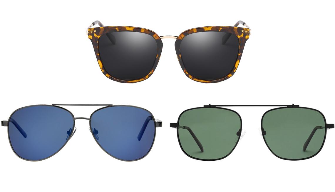 """item 9 of Gallery image - (Desde abajo a la izquierda, en el sentido de las agujas del reloj) """"Grant"""" de Foster Grant; gafas de sol polarizadas para mujer de Cyrus Fashion con UV 400 de carey; gafas de sol polarizadas de Biscayne Bae de 54 mm, de Privé Revaux."""