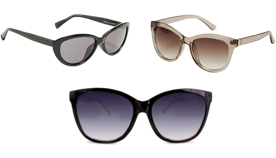 item 10 of Gallery image - (Desde arriba a la izquierda, en el sentido de las agujas del reloj) Gafas de sol redondas de ojo de gato de Ann Taylor, en negro; gafas de sol redondas de ojo de gato de Old Navy, en color gris pardo; gafas de sol cuadradas para mujer de A New Day, en ne