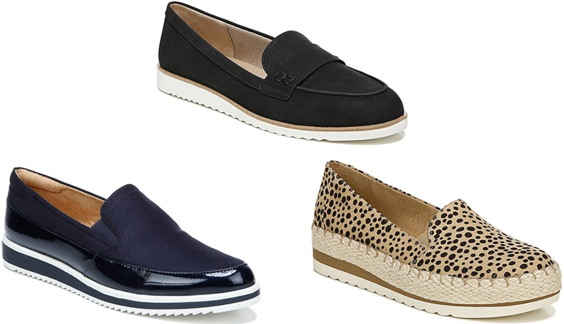 item 3 of Gallery image - Naturalizer Rome Slip-On in French Navy; LifeStride Zee Loafer in black; Dr. Scholl's Discovery Platform Slip-On in Brown/Black Leopard Print