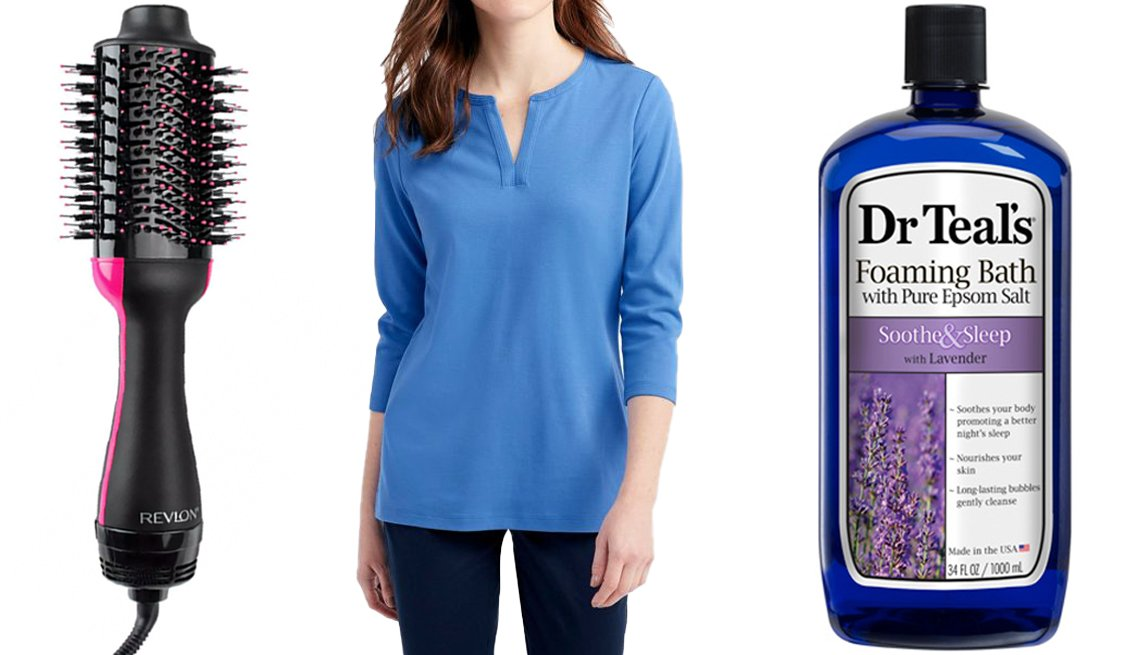 item 3 of Gallery image - Revlon Salon One-Step Hair Dryer and Volumizer; L.L. Bean Women's Tee Three-Quarter Sleeve Splitneck Tunic in bright blue; Dr. Teal's Foaming Bath Soothe and Sleep With Lavender