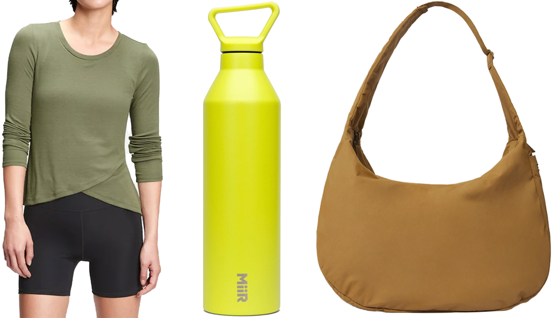 item 7 of Gallery image - GapFit Supersoft Ribbed Wrap-Front Top in desert cactus green; Miir 23-Ounce Narrow Mouth Stainless Steel Insulated Water Bottle in Spark; verlane The Oversized Carryall in Breen