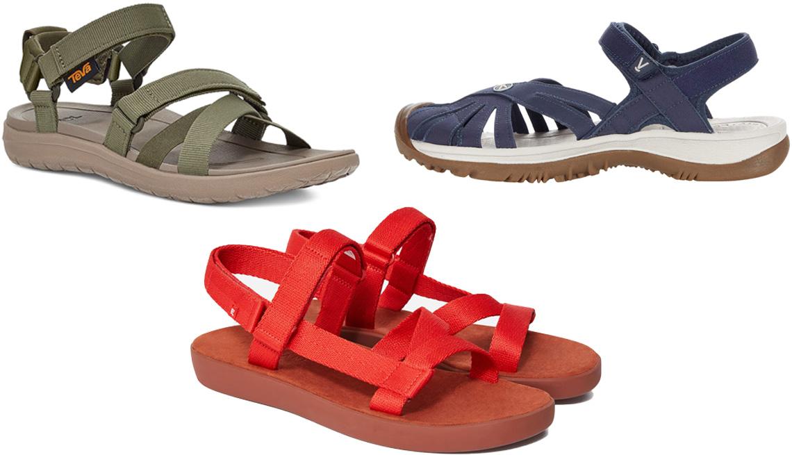 item 7 of Gallery image - Teva Sandborn Mia Sandal in green; Keen Rose Sandal in navy; Everlane ReNew Sport Sandal in scarlet