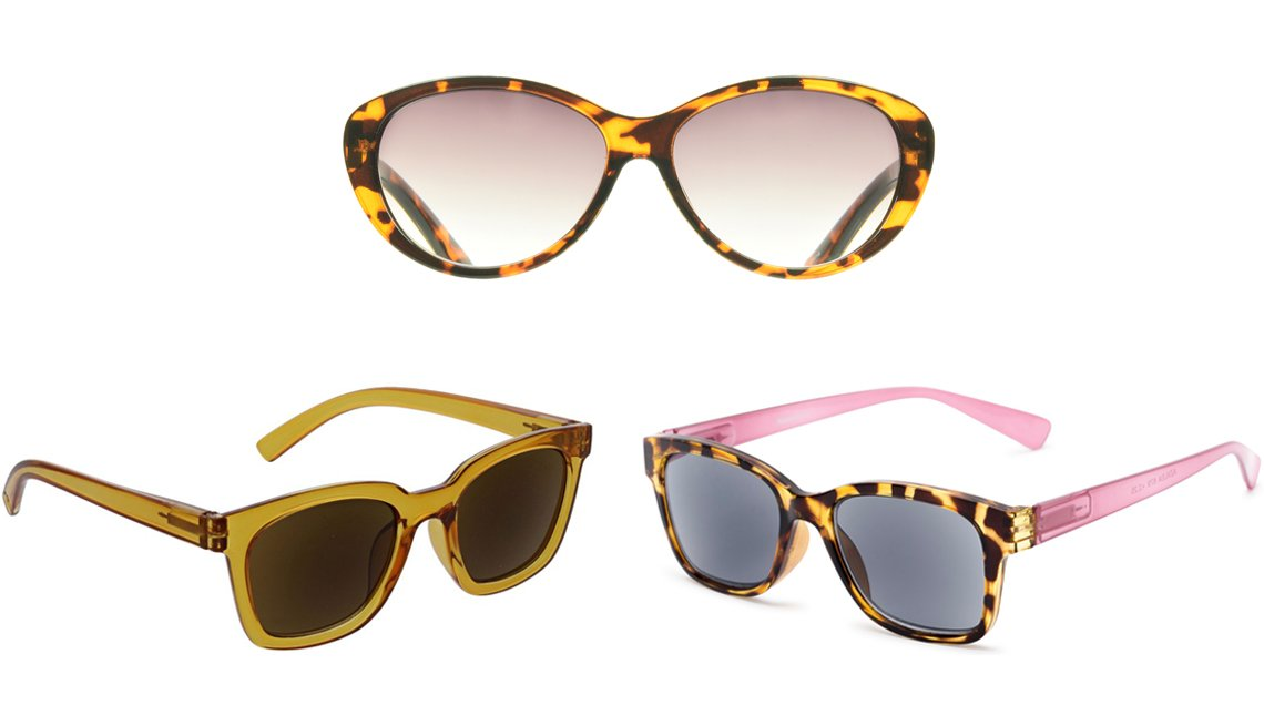 item 12 of Gallery image - Peepers To the Max Reading Sunglasses in amber; proSPORT Gypsy Reading Sunglass CatEye Tortoise; The Azalea Reading Sunglasses in tortoise/pink with smoke