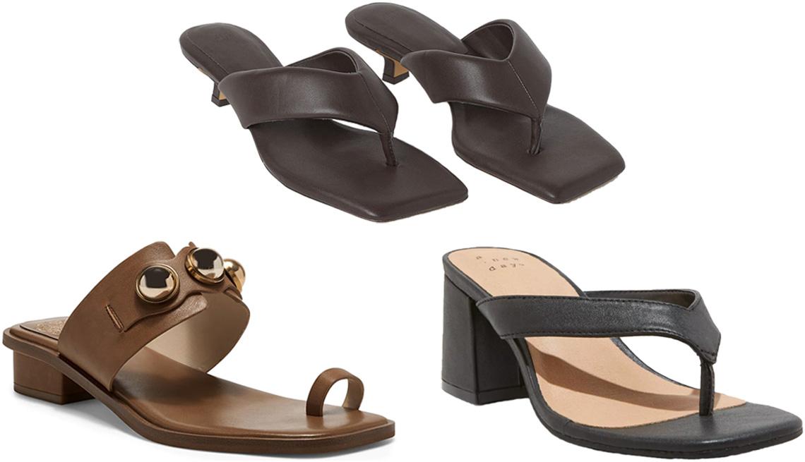 item 6 of Gallery image - Vince Camuto Yevinny Sandal in light brown; theH&M Toe-Post Slip-On Sandals in dark brown; A New Day Hazel Heel Thong Sandals in black