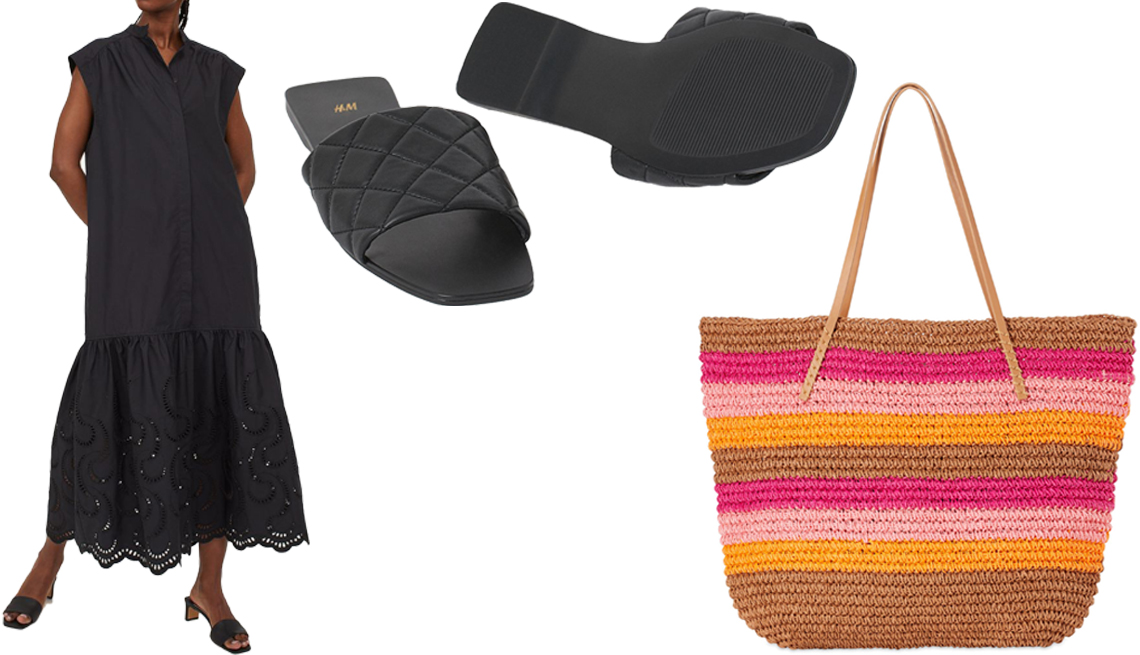 item 6 of Gallery image - H&M Eyelet Embroidery Dress in black; H&M Quilted Slides in black; Scoop Women's Striped Millie Tote in Siena Base Stripe