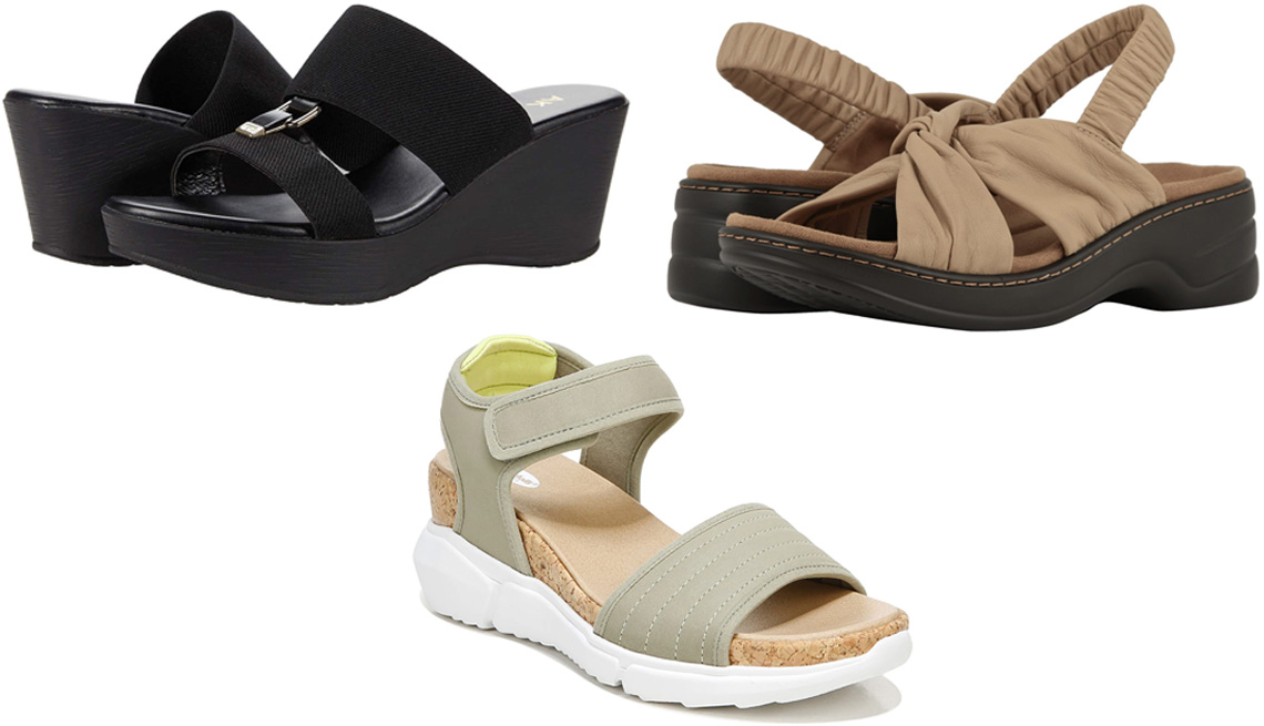 item 9 of Gallery image - Anne Klein Hermina in black; Trotters Nella; Dr. Scholl's Hey Girl Wedge Sandal in green