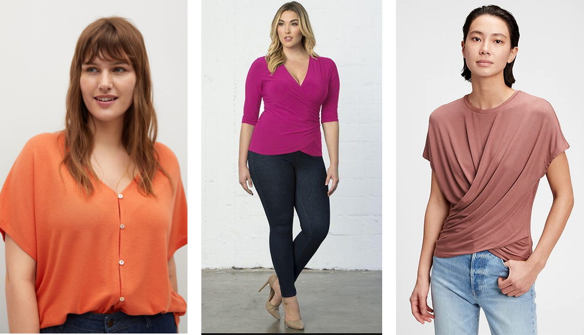 item 10 of Gallery image - violeta by mango buttons t shirt in coral kiyonna femme fatale faux wrap top in orchid gap wrap t shirt in modal in pink fig