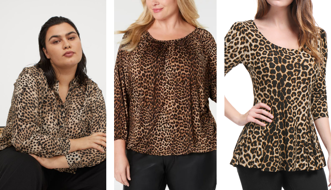 item 2 of Gallery image - michael kors plus size leopard peasant top h and m crinkled blouse in leopard print unique bargains womens peplum top in leopard