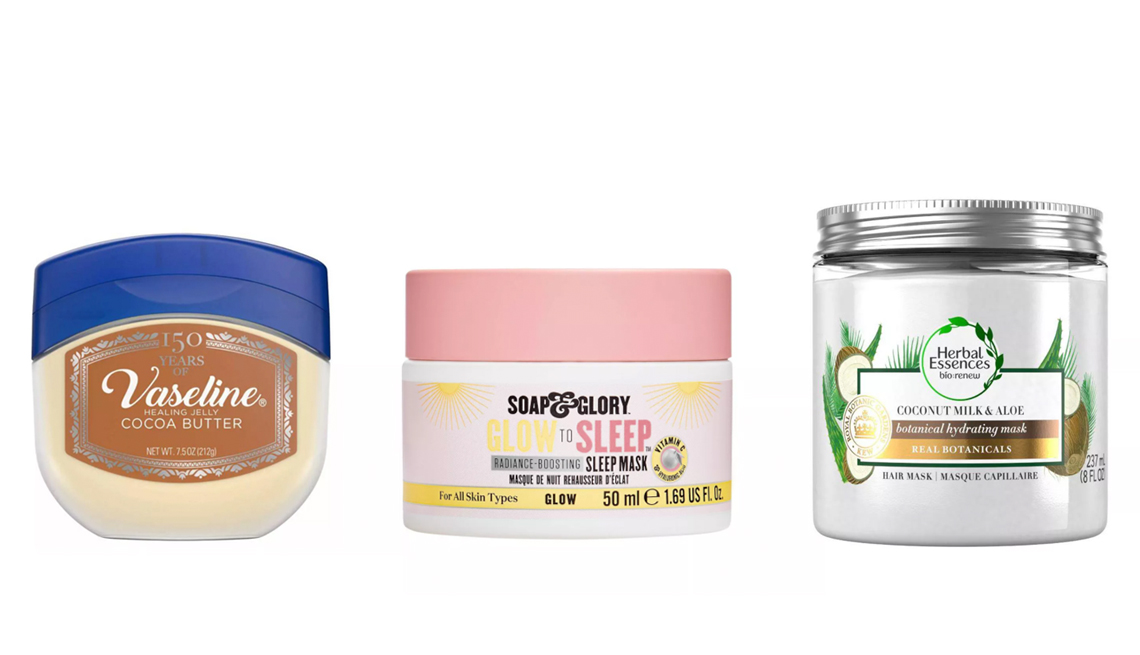 item 6 of Gallery image - vaseline cocoa butter petroleum jelly soap and glory glow to sleep vitamin c sleep mask herbal essences bio renew coconut milk and aloe hair mask