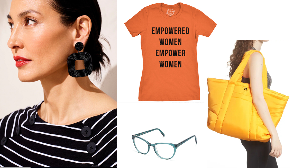 item 7 of Gallery image - chicos black beaded drop hoop earrings sweaty betty cloud bag in yellow crazy dog t shirt empowered women in orange warby parker shea frames in peacock green