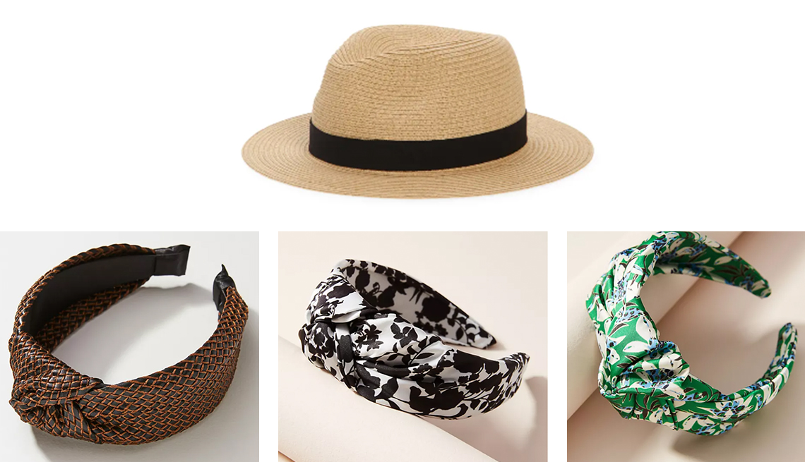 item 8 of Gallery image - made well packable straw fedora hat anthropologie woven knotted hairband in cocoa anastasia knotted headband in black and white or kelly