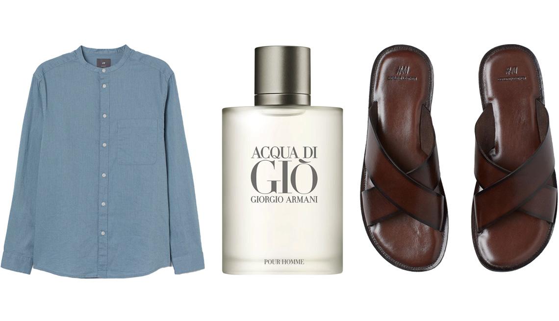 item 7 of Gallery image - (De izquierda a derecha) Camisa de mezcla de lino Linen-Blend Band-Collar Shirt de H&M en azul; perfume Armani Acqua di Giò Eau de Toilette; sandalias sin talón de cuero Leather Slides de H&M en marrón oscuro.