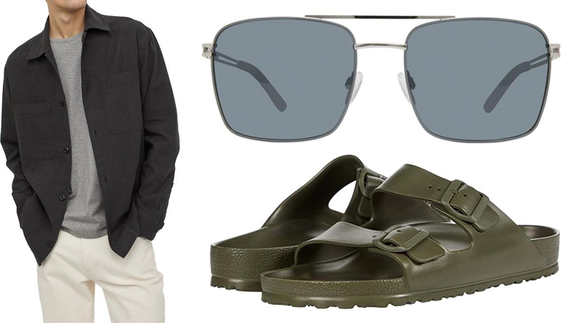 item 8 of Gallery image - (Desde la izquierda, en el sentido de las agujas del reloj) Chaqueta-camisa de mezcla de lino Linen-Blend Shirt Jacket de H&M en negro; gafas de sol The Future para hombre de Privé Revaux en plomizo; sandalias Arizona Essentials de goma EVA de Birkenstock