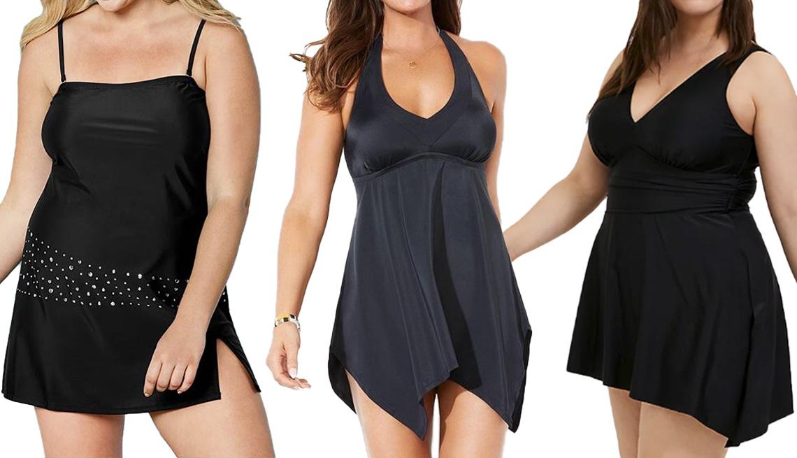 item 3 of Gallery image - Venus Plus Size Bandeau Swim Dress; Swimsuits for All Handkerchief Halter Two-Piece Swimdress Set in Black; Torrid Black Wireless Asymmetrical One-Piece Swim Dress-Short