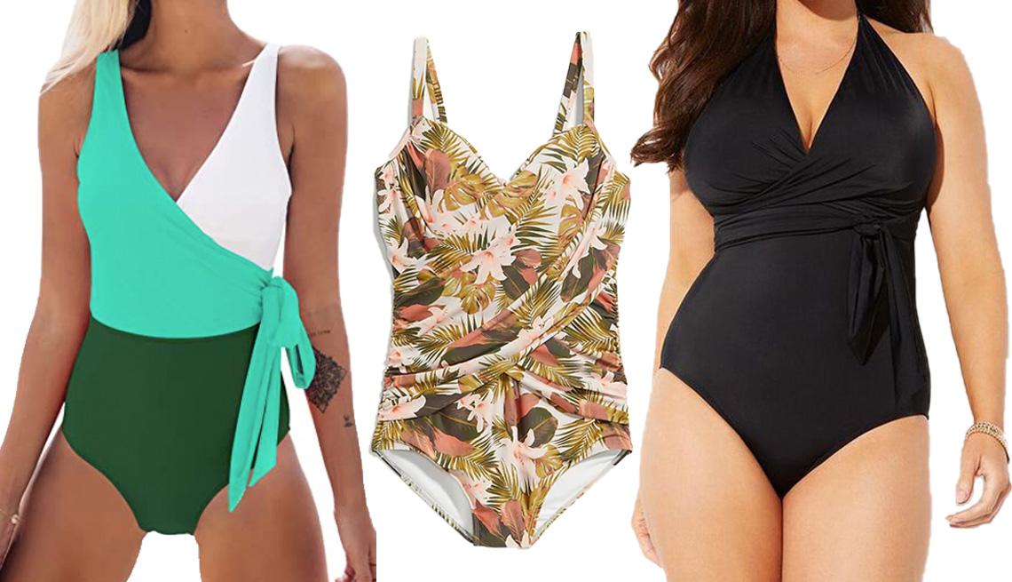 item 6 of Gallery image - (De izquierda a derecha) Traje de baño de una pieza Women's One Piece Wrap Color Block Tie Side Swimsuit en bloques de colores blanco y verdes, de Cupshe; el traje de baño de una pieza Wrap-Front Secret-Slim Underwire Plus-Size One-Piece Swimsuit de estam
