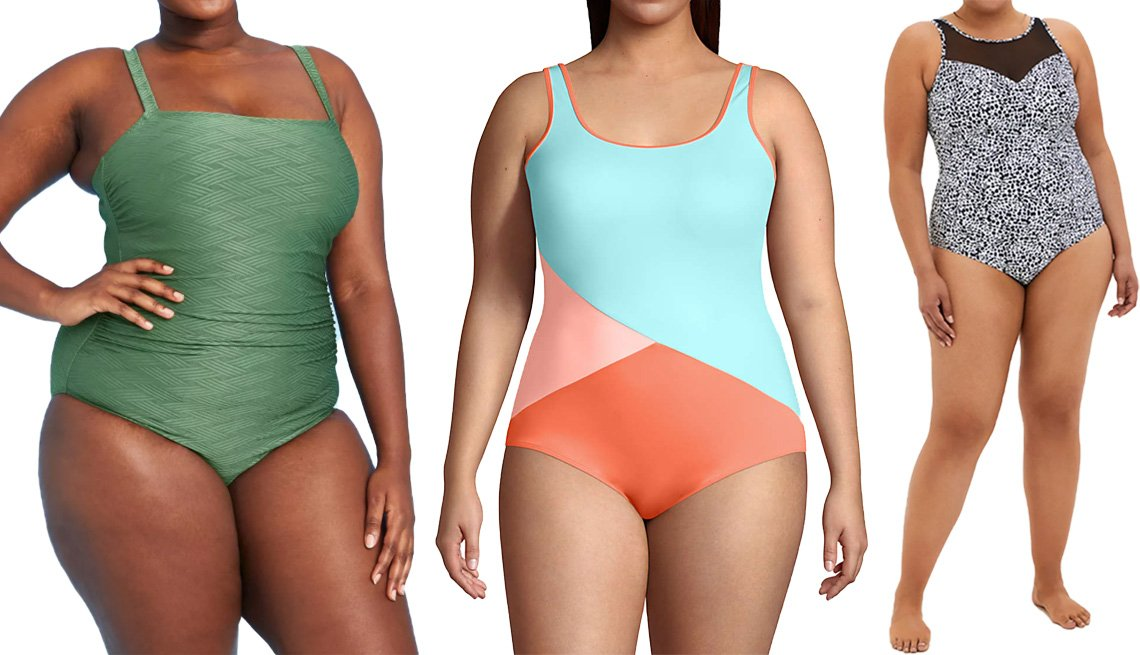 item 9 of Gallery image - Kona Sol Women's Basket Weave Classic One Piece Swimsuit in Green; Lands' End Women's Plus Size Chlorine Resistant Scoop Neck Soft Cup Tugless Sporty One Piece Swimsuit in Ginger Peach/Paradise Aqua; Torrid Cheetah High Neck Active One Piece in Multi