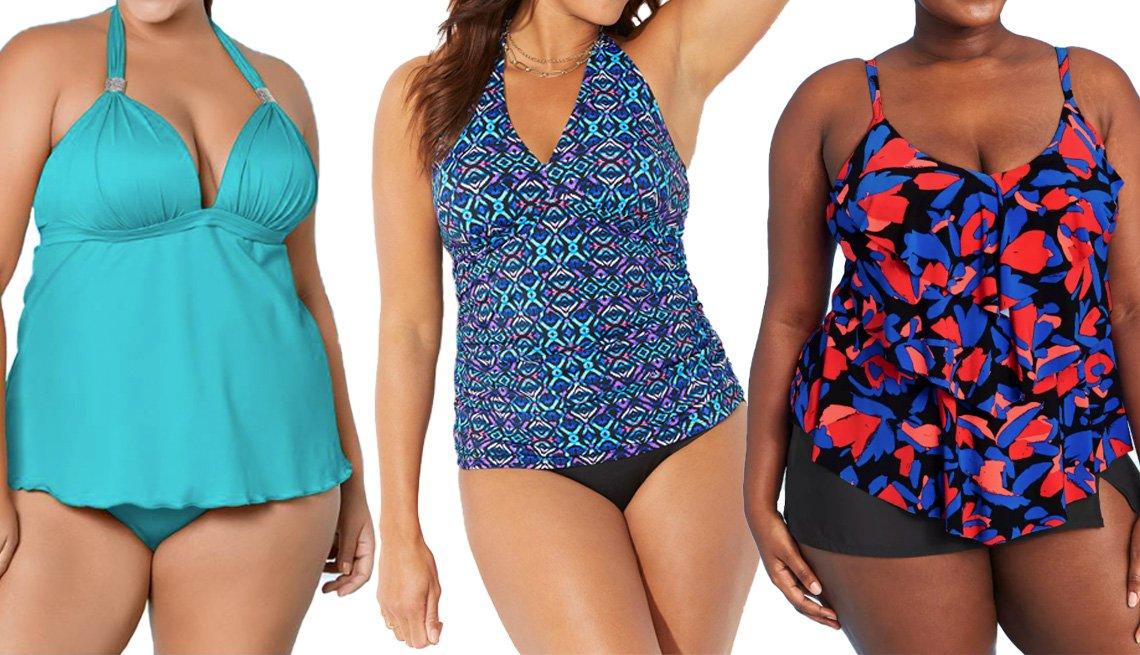 item 10 of Gallery image - Venus Plus Size Goddess Ruffle Hem Halter Tankini Top in Aqua Reef; Swimsuits for All Shirred Halter Tankini Set in Mosaic; Aqua Green Women's Tiered Tankini Top in Blue