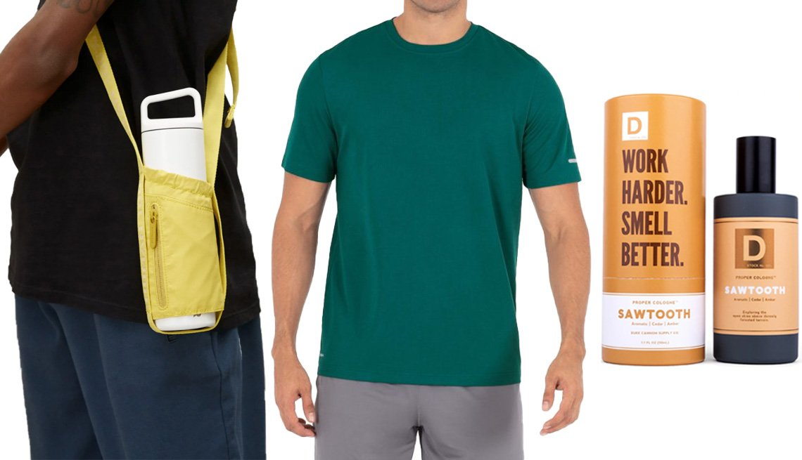 item 9 of Gallery image - Everlane The 100% Human Water Bottle Carrier in Citrus; Athletic Works Men's and Big Men's Quick Dry Tee in Cabo Blue; Duke Cannon Supply Co Sawtooth Proper Cologne