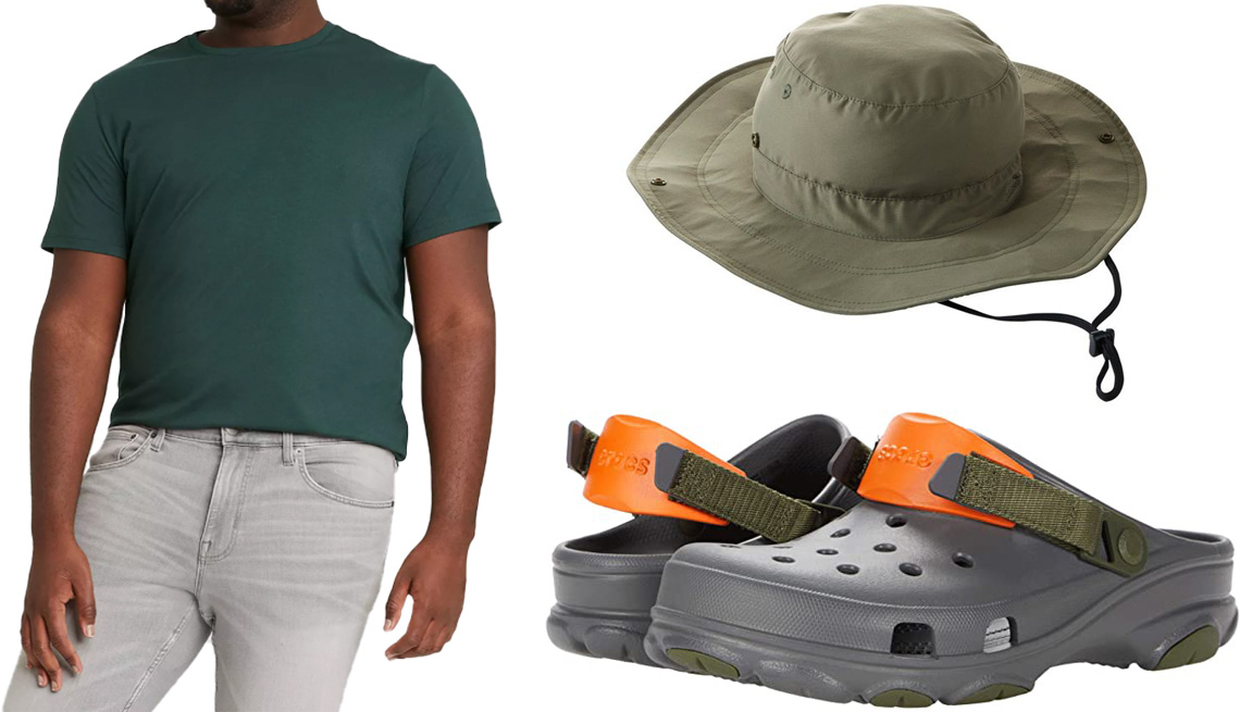 item 2 of Gallery image - Goodfellow & Co Mens Big & Tall Regular Fit Crewneck T-Shirt in Green; L.L. Bean Adults No Fly Zone Boonie Hat in Dusty Olive; Crocs Classic All Terrain Clog in Slate Grey Multi